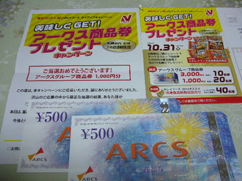 20141107 東光ストア×ニチレイフーズ アークスグループ商品券1,000園分.JPG