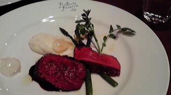 20150314 エゾ鹿肉のアロースト ゆり根のピュレ 赤ワインとスパイスの香りのソース.jpg
