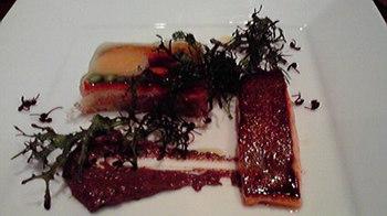 20150314 上川産紅鱒の自家製スモーク 色々な野菜のテリーヌ タプナードを添えて.jpg